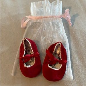 Janie and Jack velvet baby shoes